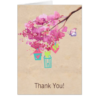 Pink Watercolor Blossom Tree Wedding Thank You Greeting Card
