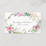"""Pink Watercolor Bohemian Floral Wreath Business Card<br><div class=""""desc"""">Boho chic business card featuring watercolor flowers and branches wreath. This business card will be perfect for florists,  event planners,  and designers.</div>"""
