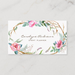 Floral business cards zazzle pink watercolor bohemian floral wreath business card m4hsunfo