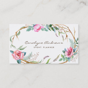 Floral business cards templates zazzle pink watercolor bohemian floral wreath business card cheaphphosting Gallery