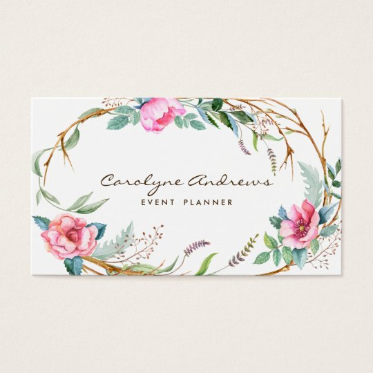 Pink watercolor bohemian floral wreath business card zazzle pink watercolor bohemian floral wreath business card reheart Images