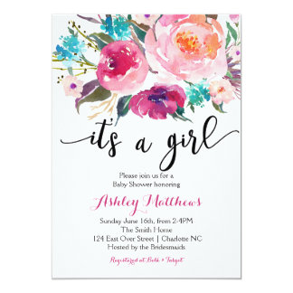 Pink watercolor boho Floral Baby Shower Invitation