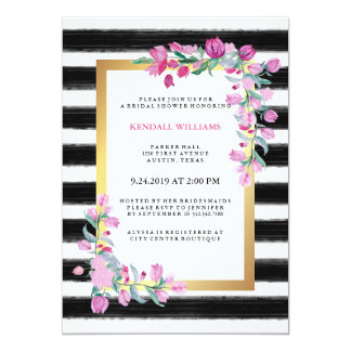 Pink Watercolor Bougainvillea with Black Stripes Card