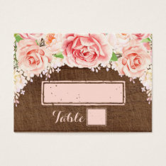 Pink Watercolor Brown Wood Place Setting Cards at Zazzle