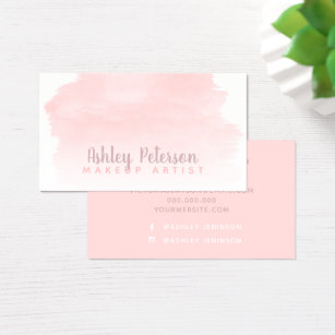 Pink business cards templates zazzle pink watercolor brushstroke makeup typography business card reheart Image collections