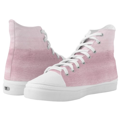 Pink Watercolor Brushstrokes High-Top Sneakers