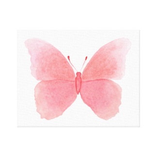 Pink watercolor butterfly canvas print