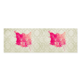Pink Watercolor Cat Vector Vintage Floral Damask Double-Sided Mini Business Cards (Pack Of 20)