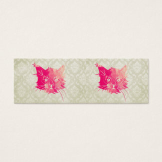 Pink Watercolor Cat Vector Vintage Floral Damask Mini Business Card