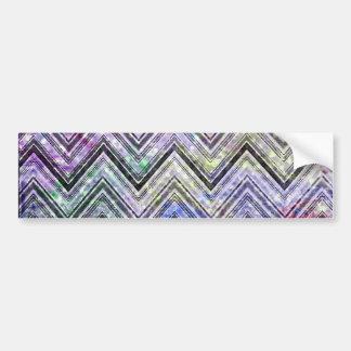 Pink Watercolor Chevron Zigzag Glitter Print Bumper Sticker