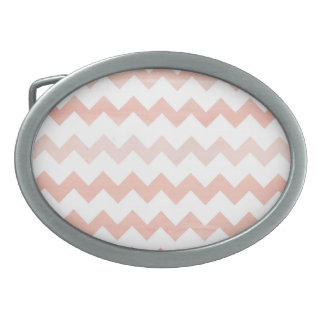 Pink Watercolor Chevron Zigzag Pattern Oval Belt Buckle