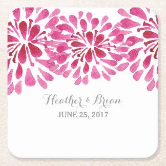 Pink Watercolor Chrysanthemum Paper Coasters