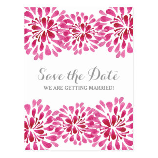 Pink Watercolor Chrysanthemum Save the Date Postcard