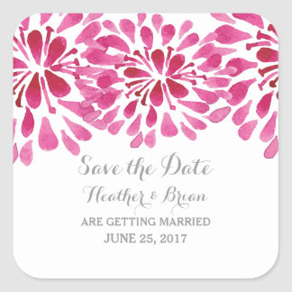 Pink Watercolor Chrysanthemum Save the Date Square Sticker