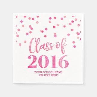 Pink Watercolor Confetti Class of 2016 Graduation Napkin