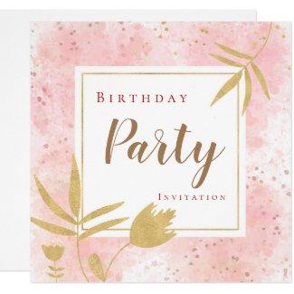 Pink Watercolor Confetti Gold Leaf/Floral Birthday Invitation
