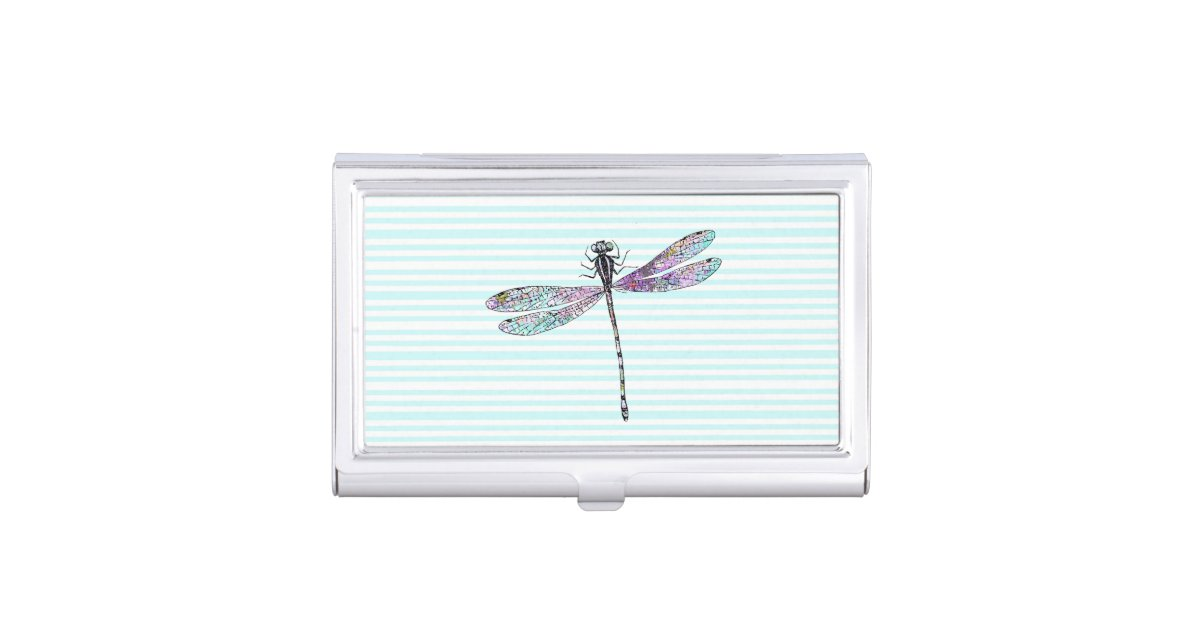 Pink Watercolor Cute Dragonfly Vintage Stripes Business Card Holder ...