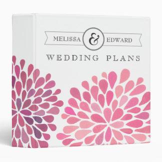 Pink Watercolor Dahlias Wedding Planner Binder