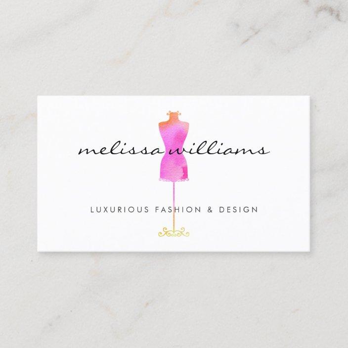 Pink Watercolor Dress Mannequin Fashion Boutique Business Card Zazzle Com