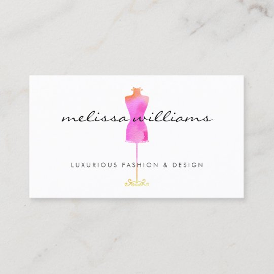 pink watercolor dress mannequin fashion boutique business card - Boutique Business Cards