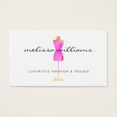 Pink Watercolor Dress Mannequin Fashion Boutique Business Card at Zazzle