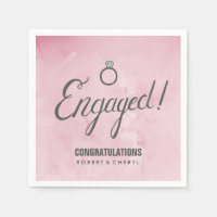 Pink Watercolor Engagement Party Napkins