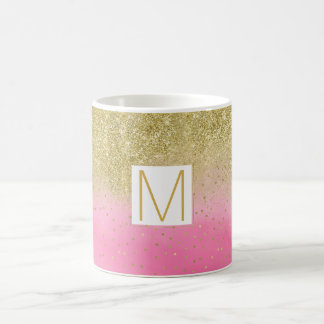 Pink Watercolor Faux Gold Glitter Monogram Coffee Mug