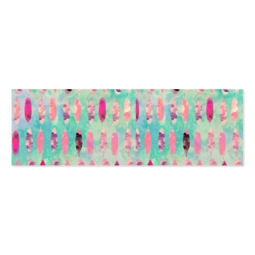 Pink Watercolor Feather Abstract Turquoise Pattern Business Card