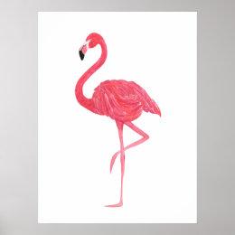 Pink Watercolor Flamingo Print Poster