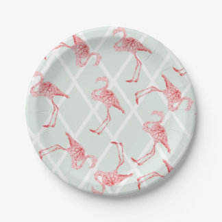 Pink Watercolor Flamingos with Diamond Pattern Paper Plate