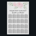 "Pink Watercolor Floral 20-Table Seating Chart<br><div class=""desc"">Beautiful blush pink floral seating chart for a summer or spring wedding. Two large blush pink rose look beautiful against a sage green leaves. Please find your seat is written in simple and elegant font. The bride and groom names are written below in a romantic script font. It is very...</div>"