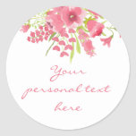 Pink Watercolor Floral Baby Shower Sticker