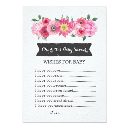 pink watercolor floral baby shower wishes for baby card zazzle