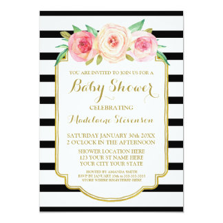 Pink Watercolor Floral Black Stripes Baby Shower Card