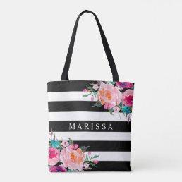 Pink Watercolor Floral Black White Stripe Tote Bag