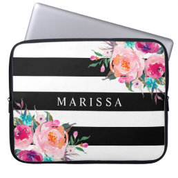Pink Watercolor Floral Black White Stripes Custom Laptop Sleeve