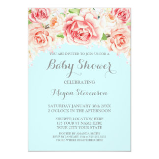 Pink Watercolor Floral Blue Baby Shower Invitation