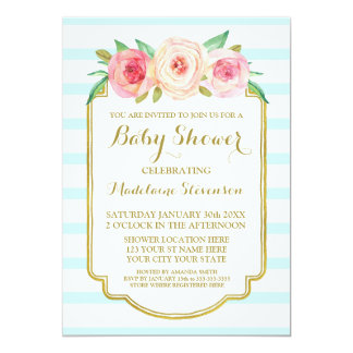 Pink Watercolor Floral Blue Stripes Baby Shower Card