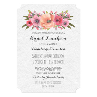Lunch invitations announcements zazzle pink watercolor floral bridal lunch invitations stopboris Images
