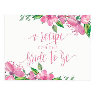 Pink Watercolor Floral Bridal Shower Recipe Card