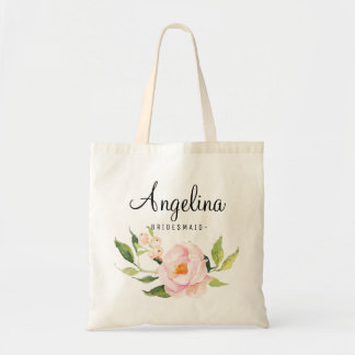 Pink Watercolor Floral Bridesmaid Personalized Tote Bag
