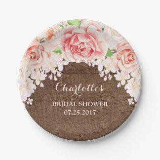 Pink Watercolor Floral Brown Wood Bridal Shower Paper Plate