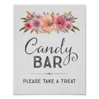 Pink Watercolor Floral Candy Bar Wedding Sign