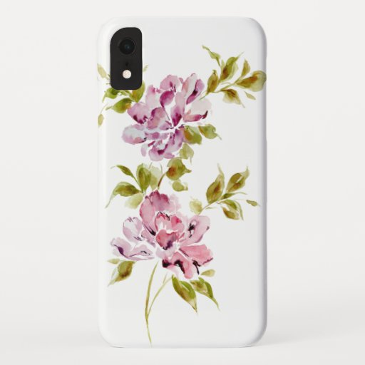 Pink watercolor floral flowers chic stylish iPhone XR case