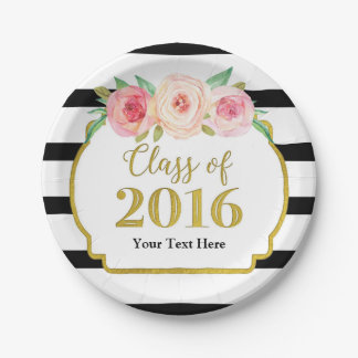 Pink Watercolor Floral Gold Graduation 2016 Paper Plate