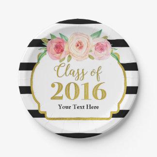 Pink Watercolor Floral Gold Graduation 2016 Paper Plate