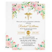 Pink Watercolor Floral Gold Nurse Graduation Party Card