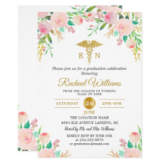 Pink Watercolor Floral Gold Nurse Graduation Party Card
