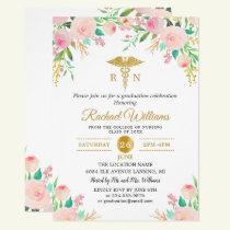 Pink Watercolor Floral Gold Nurse Graduation Party Invitation