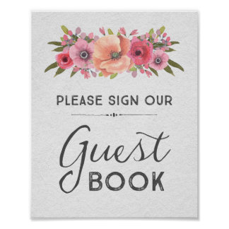 Pink Watercolor Floral Guest Book Wedding Sign